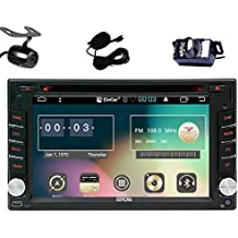 EinCar Android 6.0 Car DVD Player Double Din 6.2'' Car Stereo with touch Screen In Dash GPS Navigation Head Unit Support Bluetooth/AM FM RDS Radio/Screen Mirroring/External Micro/Dual Camera(included)