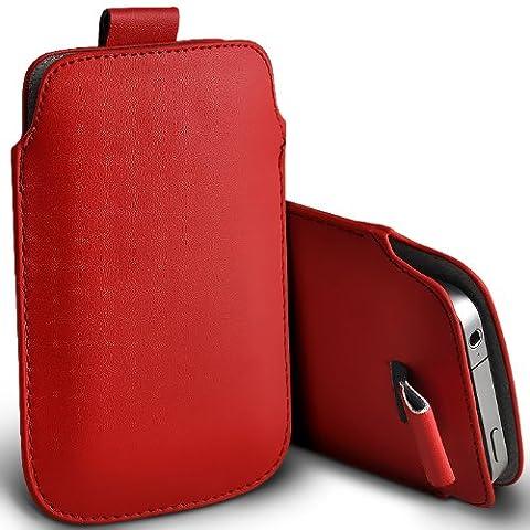 ONX3 HTC Tattoo Rouge PU Leather Pull Tab Protecteur Poche étui