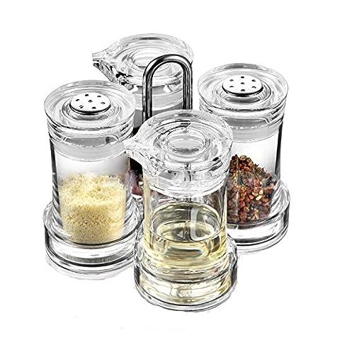 scfl Premium Transparent de qualité distinctes Pin-Up en acrylique transparent Huile Vinaigre Sauce Soja assaisonnement bouteille Cuisine Fournitures, Acrylique, 1030S4-Clear, 5.24inches x 5.24inches x 5.51inches