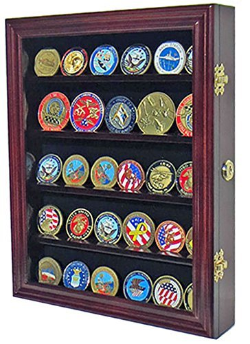 LOCKABLE 30 Military Challenge Coin, Sport Competition Coin, Poker Chip Display Case Wall Mounted Cabinet, with Lock, COIN30-MAH by DisplayGifts (Wall-mounted Display Case)