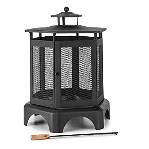 Blumfeldt Mandala Garden Fireplace • Thermal Paint • Poker Included • Large Area for the Fire • Lockable Door • Removable Ash Tray • Wrap-Around Grid for Protection Against Sparks • Direct View of the Fire • Smoke Vent at the Top •