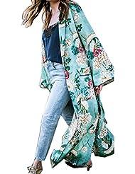 FEITONG Mujer Bohemia Floral Gassan Cardigan Tops largos del mantón del kimono largo