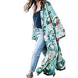 FEITONG Mujer Bohemia Floral Gassan Cardigan Tops largos del mantón del kimono largo (XL, Verde)