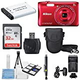 Nikon COOLPIX S3700 Wi- Fi enabled Digital Camera with 8x Optical Zoom (Red) +32 GB Memory Card + AC/DC Turbo Travel Charger + Extra Battery Along With a Deluxe Accessory Bundle