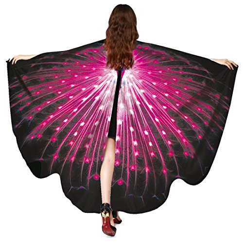 Damen Schmetterlings Kostüm,Beikoard 168*135CM Frauen Peacock Wings Schmetterling Flügel Schal Schals Damen Nymphe Pixie Poncho Kostüm Accessoire Für Partei Cosplay Täglich Strand (Rose Rot) (Seide Peacock Print)