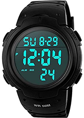 Mens Sports Digital Watches - Outdoor Waterproof Sport Watch with Alarm/Timer, Big Face Military Wrist Watches with LED Backlight for Running Men - Black by VDSOW