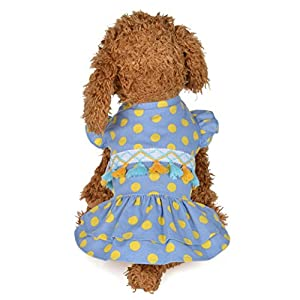 Angelof Vetement Chien/Chat Chien Femelle Robe à Franges Imprimé à Pois Princesse Chat Printemps Et éTé Mignon PointilléS Jupe Chiot