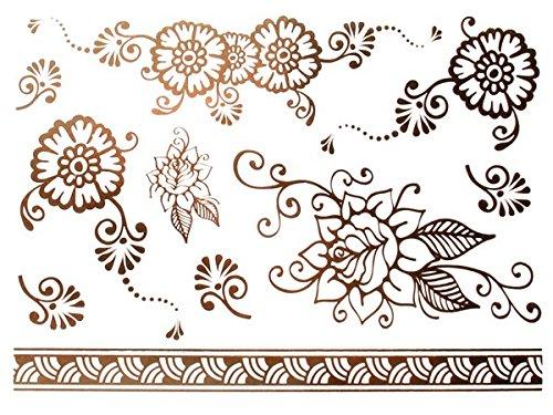 Planche de tatouage temporaire (environ 20 x 15 cm) autocollant effet métallique Tribal Tattoo , choisir:MT-64 Fleurs rose
