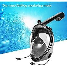 Ckeyin® Máscara de Buceo Visión 180 ° Anti-Fugas Anti-Niebla con Soporte de Cámara para Deportes Acuáticos (Negro 2, L/XL)