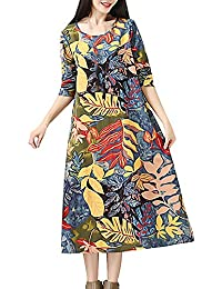 HWTOP Kleider für Damen Langarm Kleid Maxikleider Blumenkleid Drucken  Strandkleid Vintage Abendkleid Rundhals Elegant Baumwolle Leinen 42d297d2e7