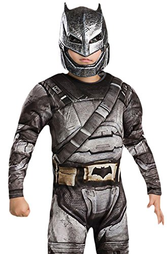 Gruppe Kostüme Batman (erdbeerloft - Jungen Karneval Komplett Kostüm Deluxe Batman Armour , Grau, Größe 110-116, 5-6)