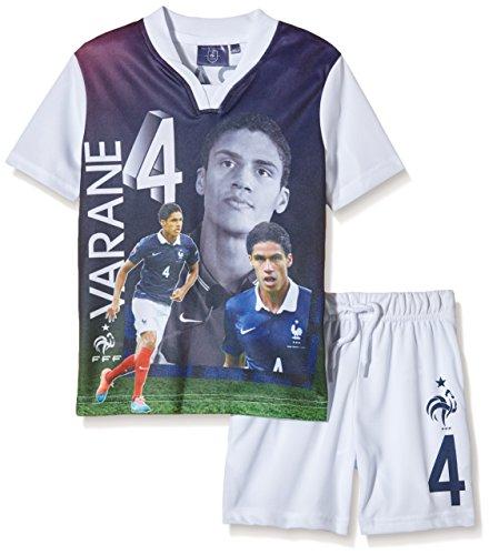 FFF EP1002 Varane Conjunto de 2 piezas, pantalones cortos y camiseta de manga corta para niño, traje, color blanco, tamaño FR : 14 ans (Taille Fabricant : 14Y)