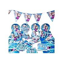 90pcs/set Frozen Theme Party Disposable Tableware Set Decoration Supplies Christmas table cloth