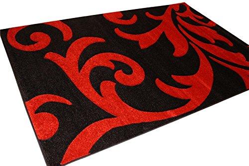 Modernes Leaf Muster Design 350–Schwarz Rot 80x 300cm Teppich