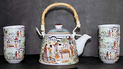 Traditionelle Chinesische Tee-Set, Damen in Garten Design; 6cups; Geschenkbox Garten Tee-set