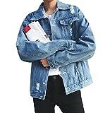 JOTHIN LöcherJeansjacke Herren Denim Mantel Freizeit Jacket Stylisch Baggy OutwearJugendliche Übergangsjacke (L, Hellblau)