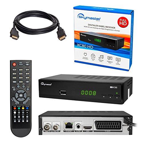 Kabelreceiver ✨ HB-DIGITAL SET: Skymaster XC80-HD Kabel Receiver DVB-C für Kabelfernsehen und Multimediaplayer (HDMI, SCART, USB 2.0, RJ45 LAN, LNB in, SPDIF Coaxial, Antennenein- und Ausgang, Mediaplayer, DVB-C) + HDMI Kabel mit Ethernet Funktion und vergoldeten Anschlüssen - HD XC80 Digital Cable Receiver HDXC80 DVBC XC80HD