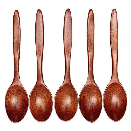 YUNGYE 5 STÜCKE Los Küche Holzlöffel Bambus Kochgeschirr Werkzeug Suppe Teelöffel Catering Scoop Kaffee Dessert Geschirr Teelöffel (Color : Brown) Dessert Scoop