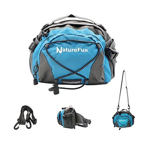 NatureFun Marsupio Impermeabile da Esterno, Marsupio Borsa Multifunzione con 2 Tasche Porta Bottiglie per Corsa Escursione Campeggio Ciclismo Viaggi