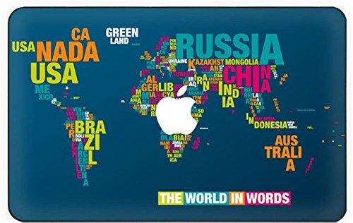 kikhorse Beispiellos Kollektion Hochwertige Ultra Dünn Vorderseite Aufkleber Removeable Top Abziehbild Für MacBook Air 11 Zoll ((Modell: A1370 / A1465) (Weltkarte)