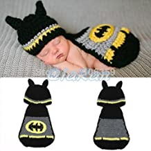 Batman, nouveau-né bébé fille/garçon en tricot crochet Costume photo Photographie Prop Tenues Chapeaux