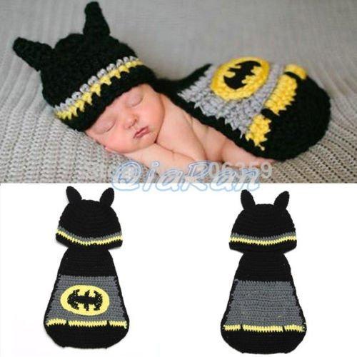 Kostüme Batman Mädchen Baby (Batman, Newborn Baby Mädchen Boy/crochet Knit Kostüm Foto Fotografie Prop Hüte)