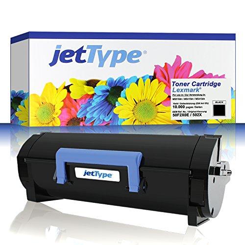 Preisvergleich Produktbild jetType Toner ersetzt Lexmark 50F2X0E (502X) für MS510dn / MS415dn / MS410dn / MS410d / MS610dn, schwarz, 10.000 Seiten