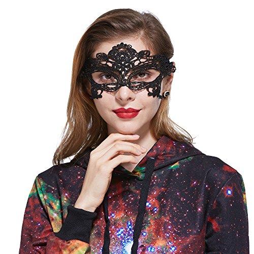 xy Fancy Lace Augen Maske für Maskerade Party Halloween (Schwarz) ()