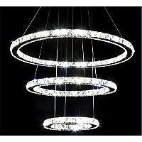 XIAOMIN American Industrial creativo trasparente taglio laser lampadario di cristallo con telecomando: Soggiorno Pendant Light Fixtures finitura acciaio inox lucidato , ring 40+60+80cm , C
