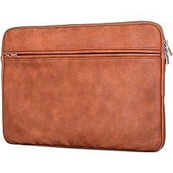 """CASEZA Housse pc portable Boston en cuir PU MacBook Air & Pro 13 marron - Chemise en cuir végétalien pour Notebook 13"""" - Pochette convient au Surface Book - Douce protection & style classique"""