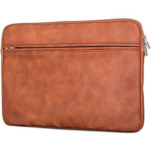 CASEZA Boston MacBook Air 13 & Pro 13 Kunstleder Hülle Braun - Edle PU Leder Tasche Sleeve für 13 Zoll Laptop/Notebook - Laptoptasche passt auch für das Microsoft Surface Book - Weich gepolstert