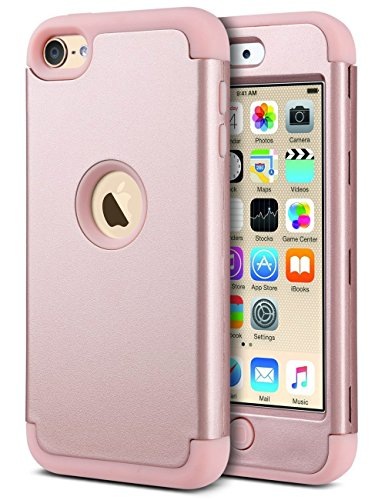 ULAK iPod Touch 5 Hülle, iPod Touch 6 Hülle 3 Layer Hybrid Combo Innere Weiche Silikon Hart Plastik Anti-stoß Schutzhülle Tasche Case Cover für Apple iPod Touch 5/6th Generation (Roségold) Apple-ipod Halter
