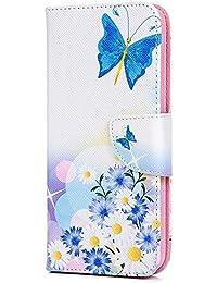 Tophung Huawei P Smart Case - Funda de piel sintética con tapa para Huawei P Smart/Enjoy 7S (poliuretano termoplástico), color negro, Butterfly Daisy