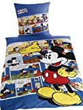 Disney G 15 600 WD13 100 Renforce Bettwäsche Walt Disney's Mickey Retro 135 x 200 cm Bettbezug und 80 x 80 cm Kissenbezug