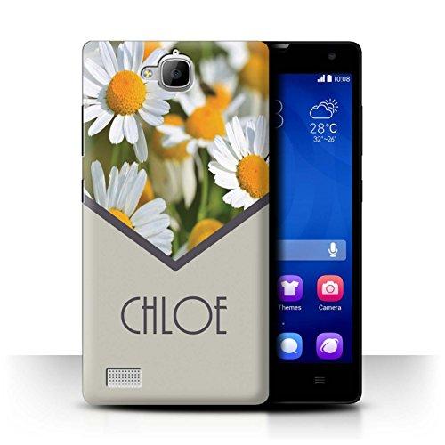 Stuff4® Personalisiert Individuell Blumen Hülle für Huawei Honor 3C / Gänseblümchen/Minze Grün Design/Initiale/Name/Text Schutzhülle/Case/Etui