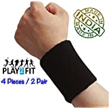 PRASH 4 Wristband (2 Pair) Soft Sweatband for All Sport, Stretchable, Sweat Absorbent Supports Wrist, 5 inch (Black)