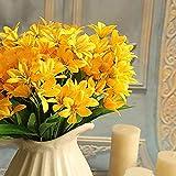 Homeofying 1 Blumenstrauß künstliche Mini-Lilienblume für Zuhause, Büro, Hochzeit, Party, Dekoration gelb