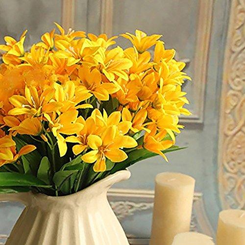 trauß künstliche Mini-Lilienblume für Zuhause, Büro, Hochzeit, Party, Dekoration gelb ()