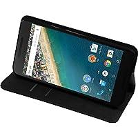 PhoneNatic Kunst-Lederhülle für Google Nexus 5X Book-Case schwarz + 2 Schutzfolien