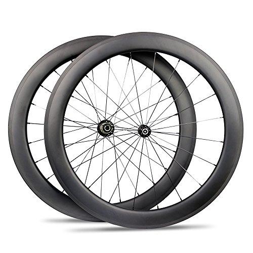 Yuanan 60mm Tiefe Carbon Fahrrad Drahtreifen Stahlrohr Tubeless Laufradsatz für 700C Road Fahrrad Cycling -