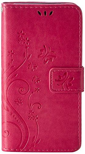 MAXFE.CO Leder Case für Samsung Galaxy A3 (2016 ) Hülle PU Schutz Etui Schale Rose rot Back Flip Wallet mit Standfunktion Karteneinschub und Magnetverschluß Etui+Staubstecker+Kondensatorstift