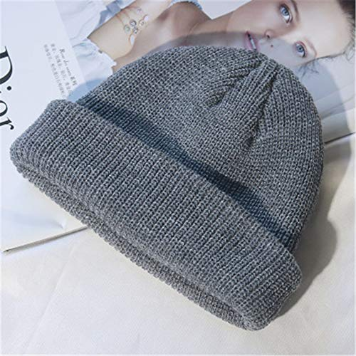 GUOSH Unisex Herren Damen Beanie Mütze Warme Wintermütze Ski Solid Fisherman Docker Cap Fashion Hat Grau 1