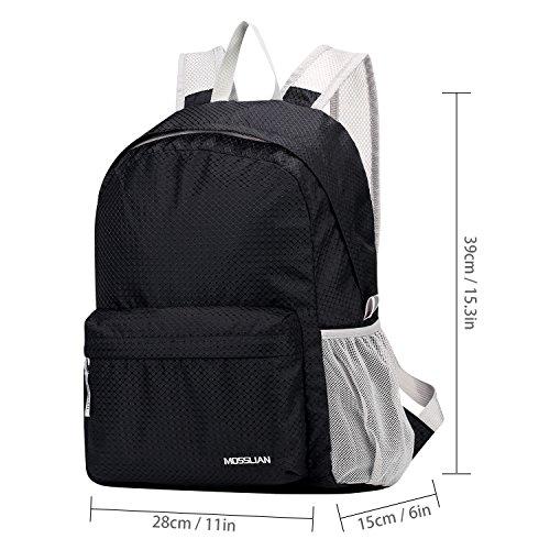 MOSSLIAN Multifunzione 16L Compattabili Zaino Trekking Turistica Sport per Donne e gli Uomini - Dimensioni 39x28x15cm (Nero, Large) Nero