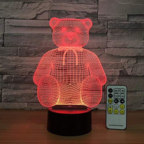Sitzen Bär Nette 3D Led Lampe Tisch Nachtlicht Home Office Room Decor Kinder Spielzeug Weihnachtsgeschenk 7 Farben Steuerung (Sitz Traktor Bar)