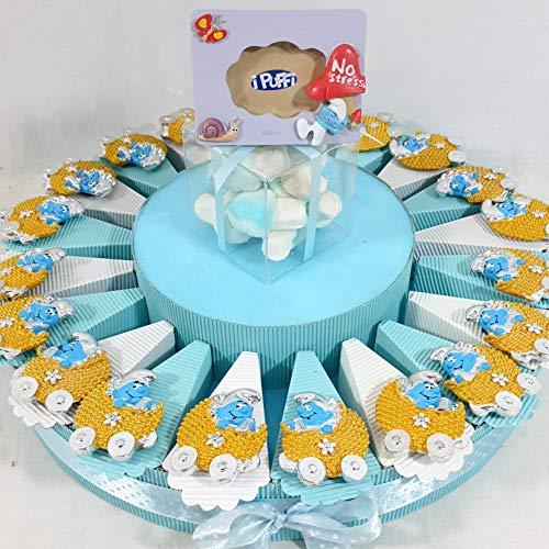 Bomboniere disney nascita battesimo maschio o femmina a seconda della scelta selezionata (torta 20 fette + 20 calamite + 1 cornice+ confetti azzurri ...)
