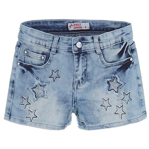 Kinder Mädchen Kurze Hose Bermuda Shorts Sommer Capri Pump Pants Jeans 21223, Farbe:Blau;Größe:128