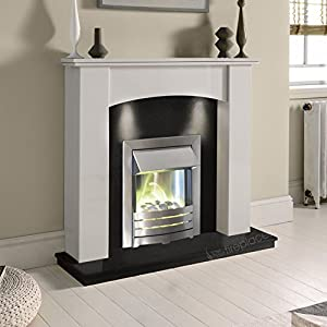 White Marble Stone Curved Surround Black Granite Electric Fireplace Suite Brushed Silver Electric Fire Pebble Glow & Downlights