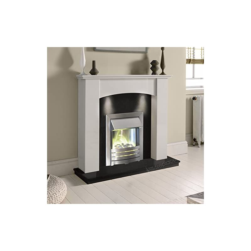 White Marble Stone Curved Modern Wall Surround Black Granite Electric LED Fireplace Suite Brushed Silver Electric Fire…