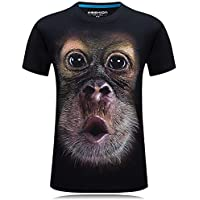 Feng Nueva Ropa de Hombre o - Camiseta de Manga Corta Animal Mono 3D Digital Impreso T - Shirt Homme de Gran tamaño,L