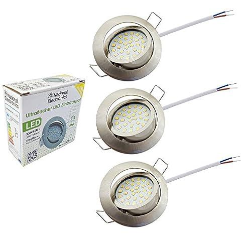 National Electronics® Slim Line Einbauspot in Edelstahl gebürstet mit nur 25mm Einbautiefe! | 3er Set Deckenspot mit integriertem 3.5W 320 Lumen LED Leuchtmittel AC 230V 160° Deckenlampe Einbauspot warmweiß (3er